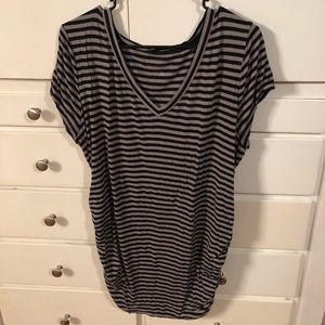 Black gray striped maternity top